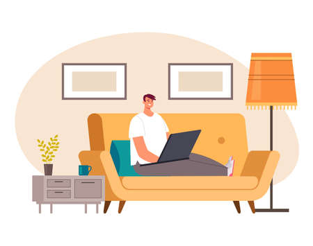 Freelancer man worker character stay home and working by laptop computer.Pandemic quarantine isolation concept vector flat cartoon graphic design illustration Ilustração
