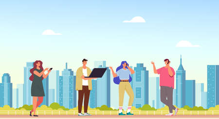 People characters man woman using phone and computer internet online. Smart city concept vector flat cartoon graphic design illustration