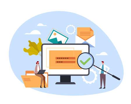 Content management website login and password optimization concept. Vector flat cartoon graphic design illustration