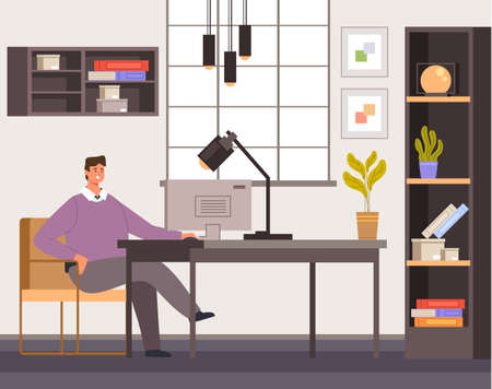 Freelancer man worker character working home in comfortable room interior. Stay at home concept vector flat cartoon graphic design illustration