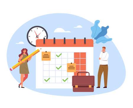 Schedule organizer calendar planning reminder agenda timetable concept vector flat cartoon graphic design illustration