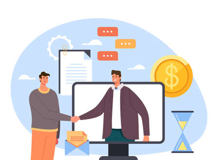 Two business person businessman people office workers men characters shaking hands and making deal. Online web internet digital business agreement contract deal handshake concept. Vector flat cartoon