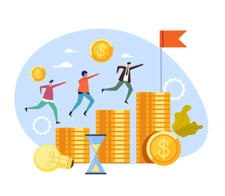 Business people office workers colleagues managers running and commit for best salary income job concept vector flat cartoon graphic design illustration