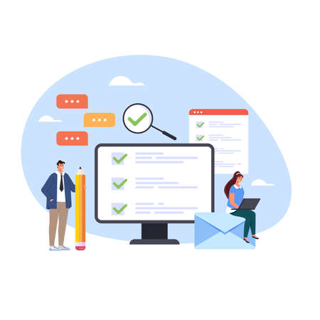 Online survey examination training choosing green check mark concept vector flat cartoon graphic design illustration Illustration