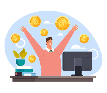 Businessman office worker manager win money. Internet online casino lottery game concept vector flat cartoon graphic design illustration