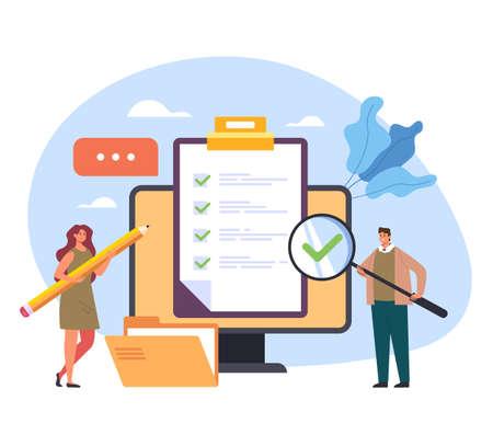 Online internet web questionnaire check mark examination feedback test training class concept vector flat cartoon graphic design illustration