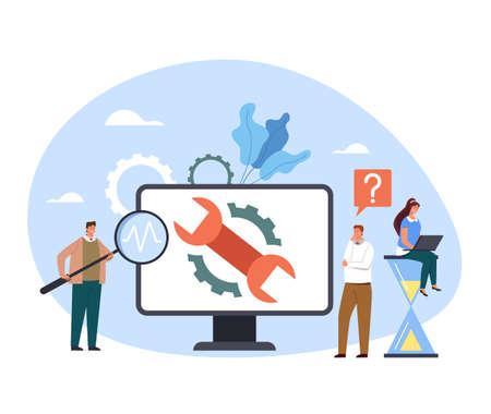 Computer laptop pc support diagnostic service help fix repair concept. Vector flat cartoon graphic design illustration