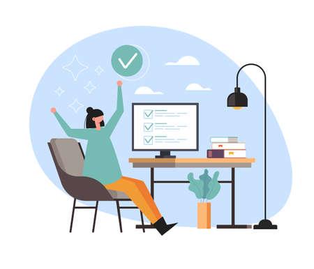 Happy business woman office worker secretary done work job task concept. Vector flat cartoon graphic design illustration