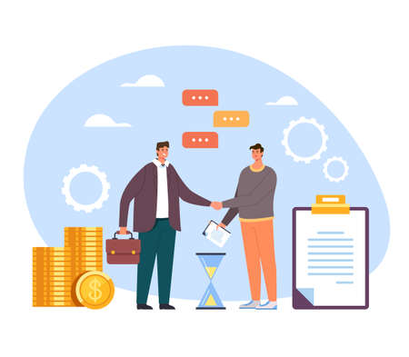 Two people man businessman office workers character shaking hands. Business deal contract agreement support cooperation management new job concept. Vector flat cartoon graphic design illustration