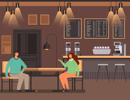 People man woman characters sitting in bar and talking. Evening night dating concept vector flat cartoon graphic design illustration