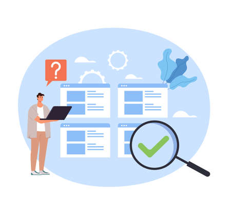 Man office worker thinking guides FAQ support searching using computer. Vector concept flat graphic simple illustration