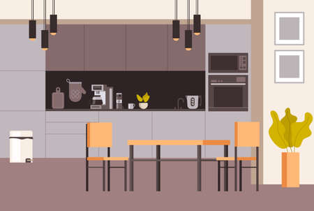 Modern style home kitchen interior. Vector concept flat graphic simple illustration