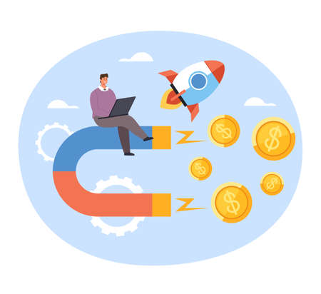 Happy businessman office worker attract magnet money profit salary. New successful business start up concept. Vector concept flat graphic simple illustration