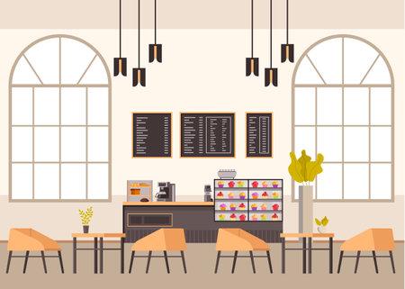 Empty cafe bar restaurant pub furniture interior. Vector concept flat graphic simple illustration