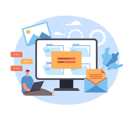 Login password enter website webpage online concept. Vector flat graphic simple illustration Illustration
