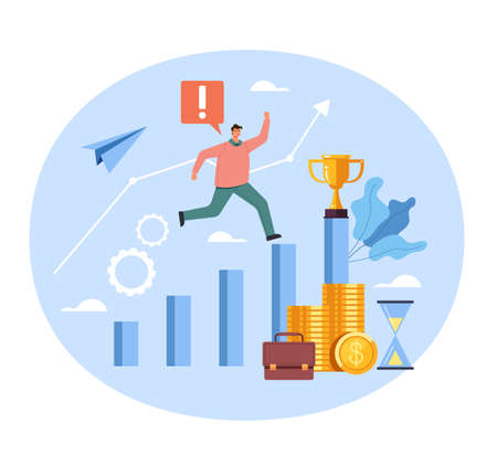 Businessman office worker character running to success income money win. Vector concept flat graphic simple illustration
