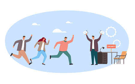 People employee character compete for new job. Head hunting recruitment concept. Vector flat graphic simple illustration