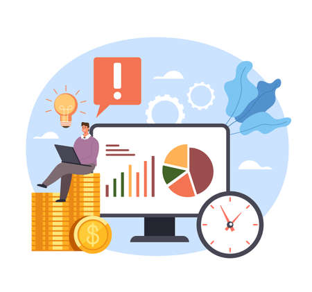 Successful business opportunity service solution strategies income money. Vector concept flat graphic simple illustration