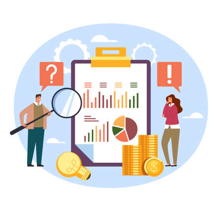 Two business people man woman characters thinking start up new business concept strategy. Vector flat graphic simple illustration