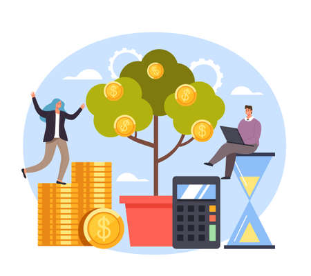 Successful start up money tree new business teamwork concept. Vector flat graphic simple illustration