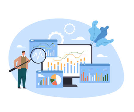 Analytics and data seo optimization analyzing wireframe research. Vector concept flat graphic simple illustration Illustration
