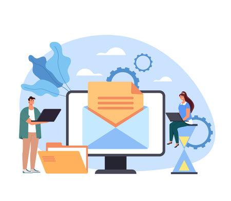 Mail service network website communication feedback media content digital online letter. Vector concept flat graphic simple illustration