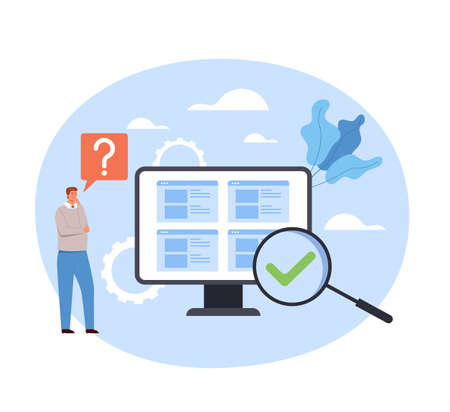 Man office worker thinking guides FAQ support searching. Vector concept flat graphic simple illustration