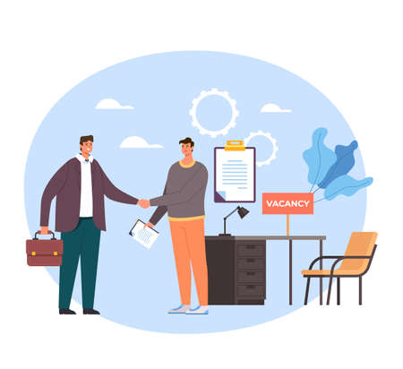 Boss and employee worker characters shaking hands. Head hunting recruitment concept. Vector flat graphic simple illustration