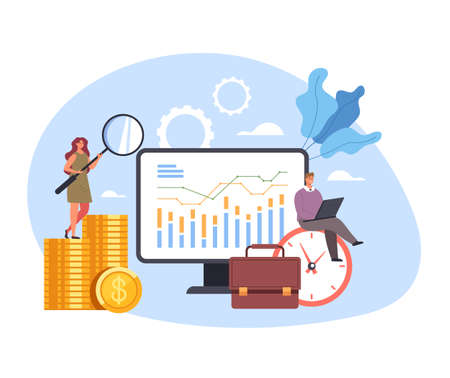 Analytics and data seo optimization analyzing wireframe research. Vector concept flat graphic simple illustration Ilustração