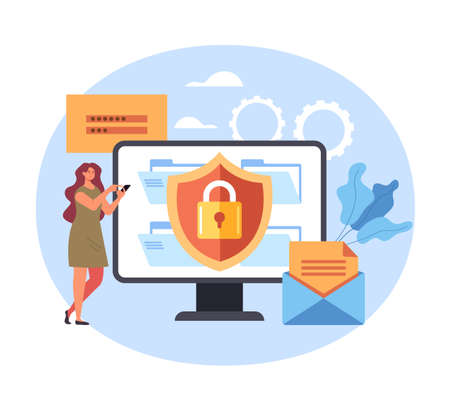 Service login password safety enter personal data concept. Vector flat graphic simple illustration Illustration