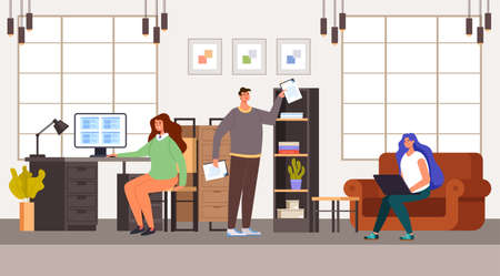 Business people man woman office workers characters working in office. Office life concept. Vector concept flat graphic simple illustration Ilustração