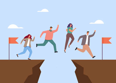 Business people office workers characters jumping above gap. Teamwork concept. Vector flat graphic simple illustration