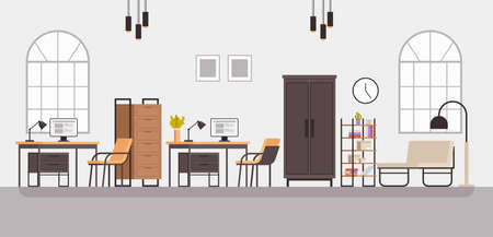 Modern style office room cabinet furniture interior. Vector concept flat graphic simple illustration