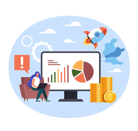 Woman freelancer character making internet online start up new business. Vector flat graphic simple illustration