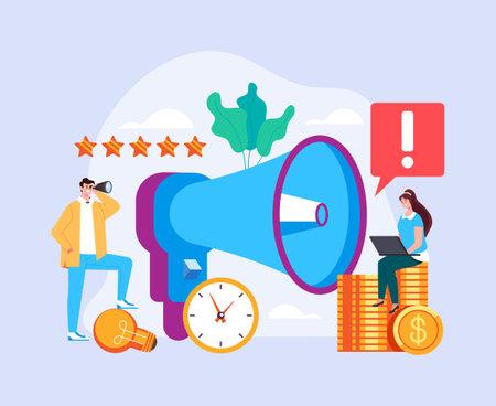 Loud speaker announcement management advertisement successful business teamwork concept. Vector flat graphic design simple illustration Çizim