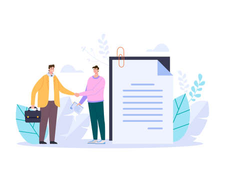 Two business people shaking hands and making deal adstract graphic design illustration Stok Fotoğraf - 162693079