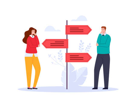 Two people characters thinking and choosing way adstract graphic design illustration