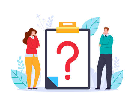 Business office workers character thinkig asking questions and searching anwers vector web adstract graphic design illustration