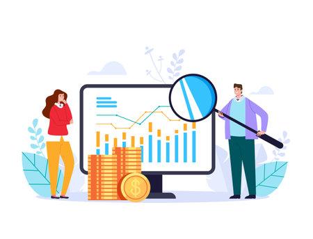 Business analytics staistic online development solution searching web adstract graphic design illustration Çizim