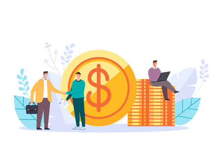 business investment deal handshake start up concept. Vector graphic design abstract illustration