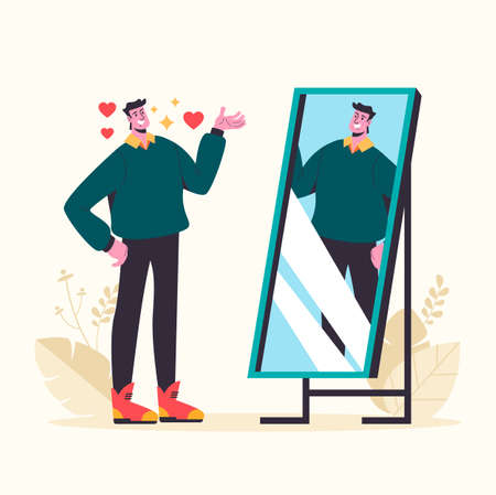 Narcissistic man looking at mirror and fall in love himself. Vector graphic design abstract illustration