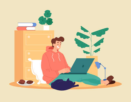 Man student worker character stay home and watching learning video and working. Freelance distant education concept. Vector graphic design abstract illustration Çizim