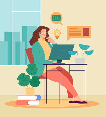 Woman character working learning and stay home. Freelance work and distant education concept. Vector graphic design abstract illustration Stok Fotoğraf - 163764244