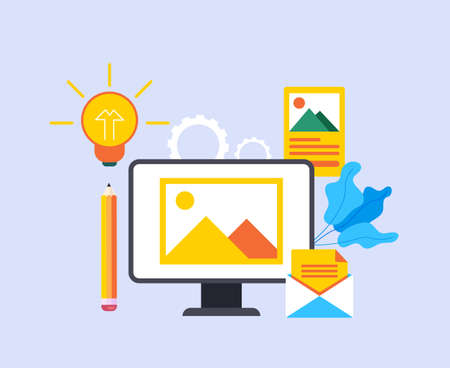 Content management blogging concept. Vector graphic design abstract illustration