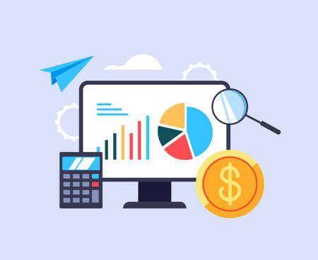 Business online bookkeeping economy budget investment concept. Vector graphic design abstract illustration Stok Fotoğraf - 163764358