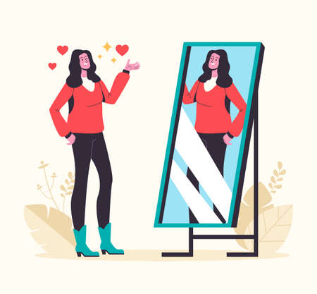 Narcissistic woman looking at mirror and fall in love herself. Vector graphic design abstract illustration
