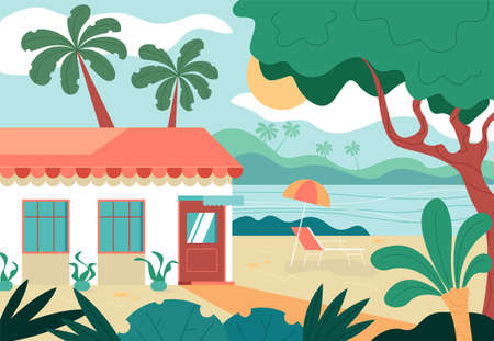 Summer vacation beach seaside trip concept. Vector graphic design abstract illustration Çizim
