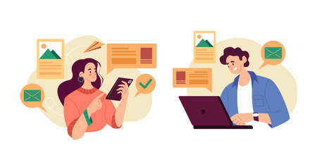 Man woman characters using smartphone and laptop. Vector graphic design abstract illustration set