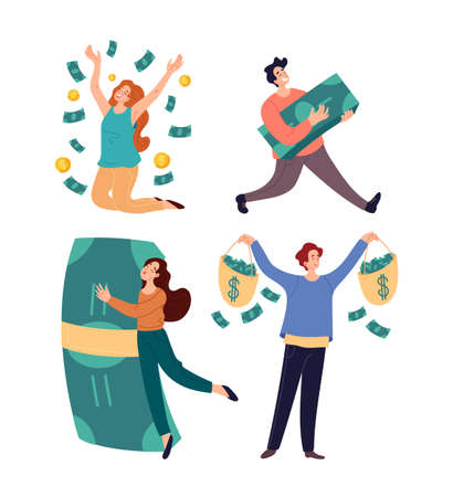 Winners lucky rich people with lot of money isolated on white backgroung set. Vector graphic design flat simple modern illustration Stock Illustratie