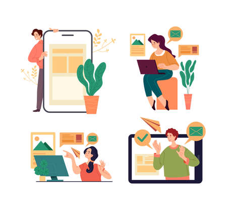 People woman man office workers students characer using digital gadgets laptop phone for working and education. Vector graphic design flat simple modern illustration